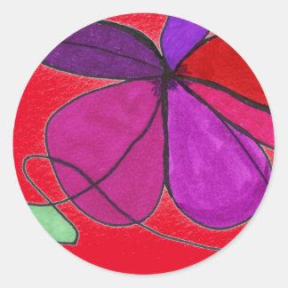 """Flower Dance on Red"" Abstract Design Sticker"