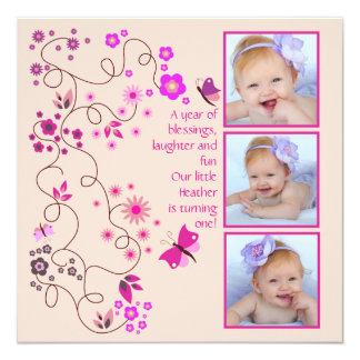 "Flower Dance - Photo Invitation 5.25"" Square Invitation Card"