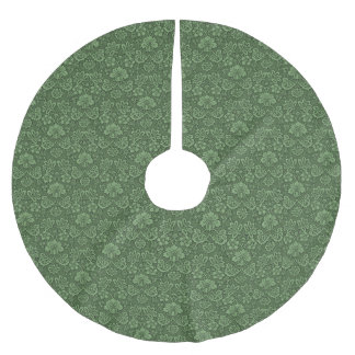Flower Dark Green Victorian Style Pattern Brushed Polyester Tree Skirt
