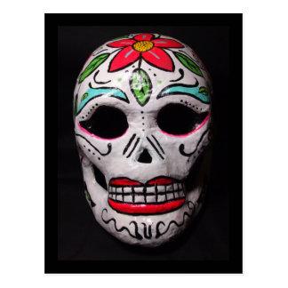 Flower Day of the Dead Skull Mask Postcard