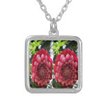FLOWER Decorations : Red n Rose Couple Square Pendant Necklace