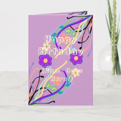 Flower Design Birthday Card from Zazzle.com