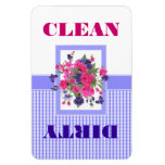 Flower Design Clean or Dirty Dishwasher Magnet Flexible Magnets