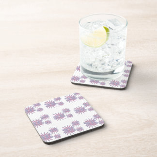Flower design in light blue and pinks in a pattern coaster