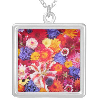Flower design of Dalhia, Oriental Lilies, Silver Plated Necklace