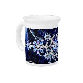 Flower design drink pitchers