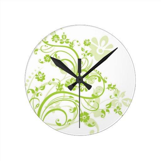 Wall Clock Floral Design : Flower design wall clocks zazzle