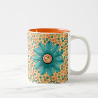 Flower design Two-Tone coffee mug