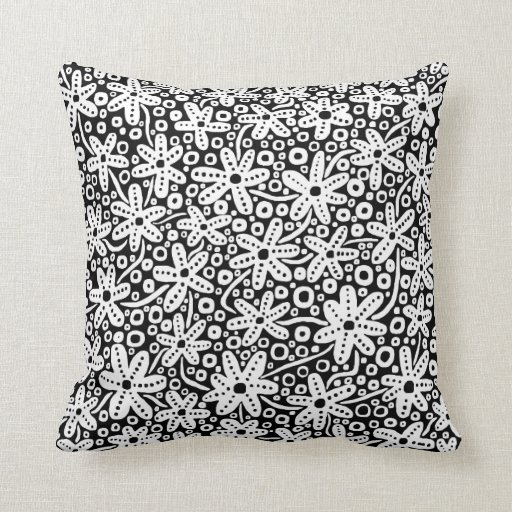 Flower Design - White on Black Throw Pillow