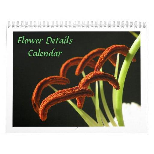 Flower Details Custom Calendar