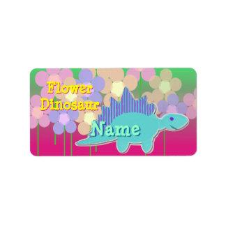 Flower Dinosaur Name Label Stickers
