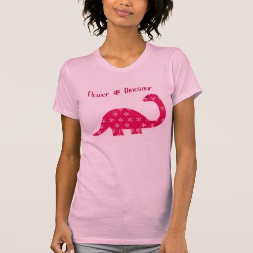 Flower Dinosaur - Pink T-Shirt