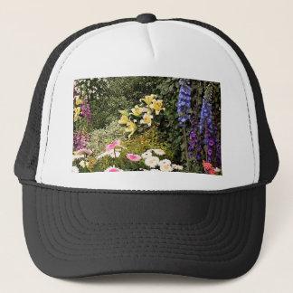 Flower display in garden trucker hat