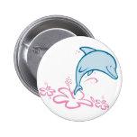 Flower Dolphin 2 Inch Round Button