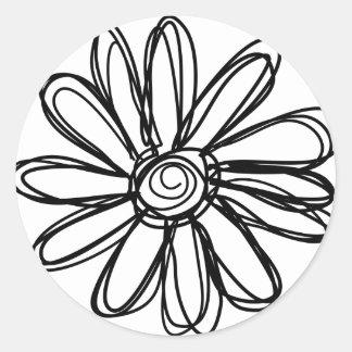 Flower doodle round stickers