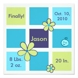 Flower Doodles Baby Boy Card