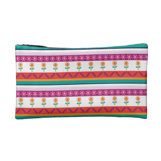 flower dot stripe cosmetic bag