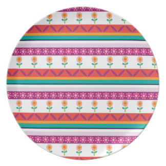 flower dot stripe dinner plate