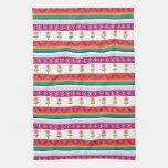 Flower dot stripe towels