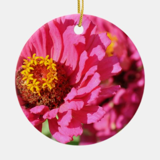 flower Double-Sided ceramic round christmas ornament