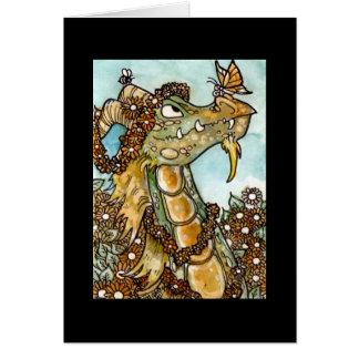 Flower Dragon Notecard Card