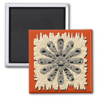 flower drawing 2 inch square magnet