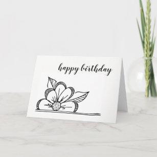 Flower Drawing Birthday Cards