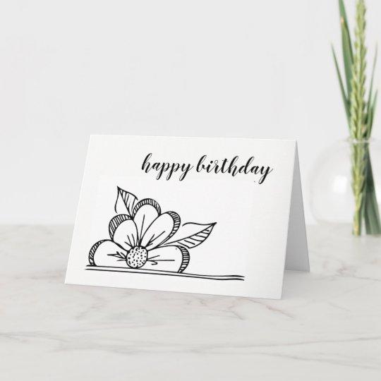 flower drawing  birthday card  blank inside  zazzle