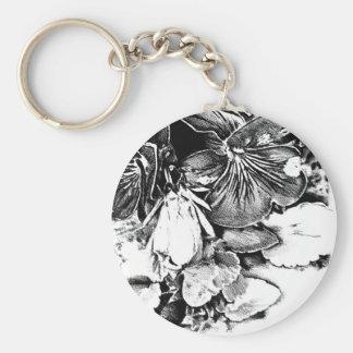 Flower drawing sketch art handmade basic round button keychain