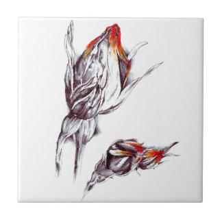 Flower drawing sketch art handmade ceramic tile