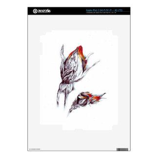 Flower drawing sketch art handmade decal for iPad 3