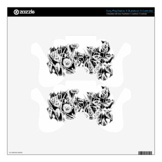 Flower drawing sketch art handmade decal for PS3 controller