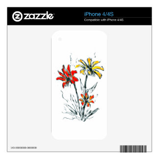 Flower drawing sketch art handmade decal for the iPhone 4S