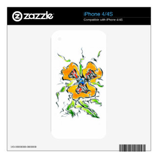 Flower drawing sketch art handmade decals for the iPhone 4S