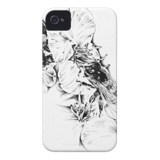 Flower drawing sketch art handmade iPhone 4 case