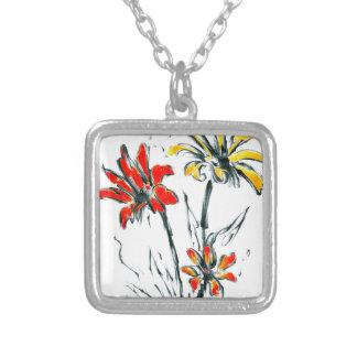 Flower drawing sketch art handmade silver plated necklace