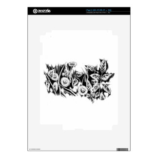 Flower drawing sketch art handmade skin for the iPad 2