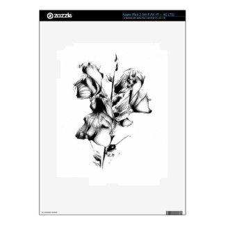 Flower drawing sketch art handmade skins for iPad 3