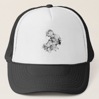 Flower drawing sketch art handmade trucker hat