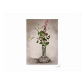 flower drawn in chalk postcard