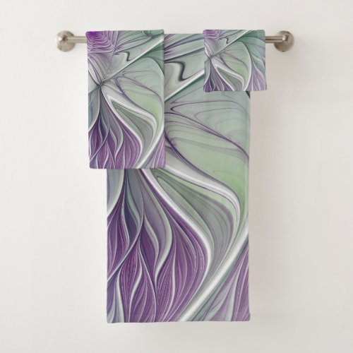 Flower Dream, Abstract Purple Green Fractal Art Bath Towel Set
