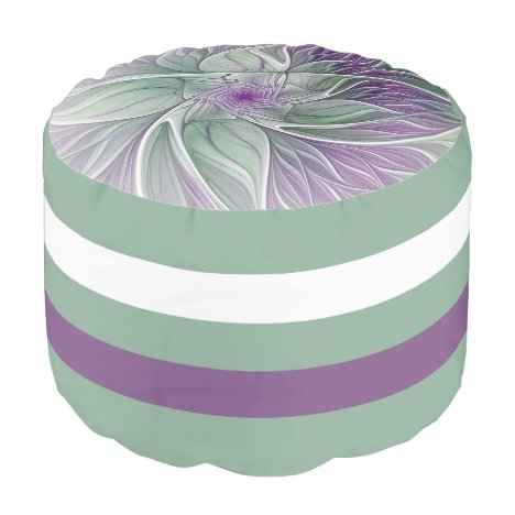 Flower Dream, Abstract Purple Green Fractal Art Pouf