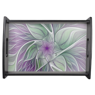 Flower Dream, Abstract Purple Green Fractal Art Serving Tray