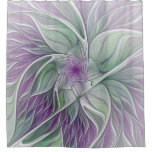 Flower Dream, Abstract Purple Green Fractal Art Shower Curtain
