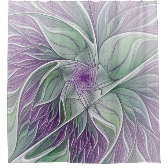 Flower Dream Abstract Purple Green Fractal Art Shower Curtain