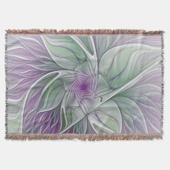 Flower Dream, Abstract Purple Green Fractal Art Throw Blanket