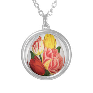 Flower easter egg silver plated necklace