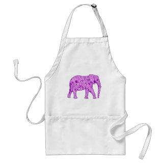 Flower elephant - amethyst purple adult apron