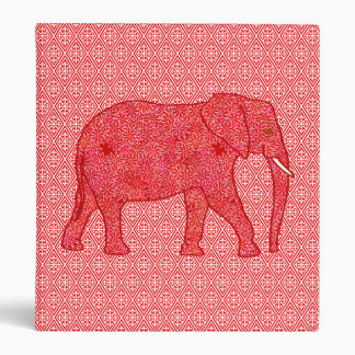 Flower elephant - deep red and coral 3 ring binder