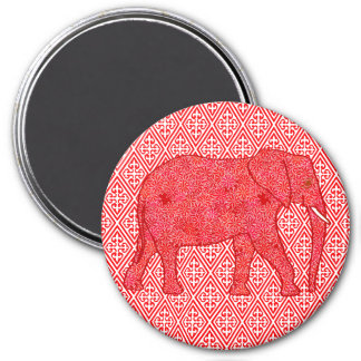 Flower elephant - deep red and coral magnet